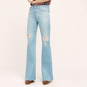 Anthro AG Janis high rise flare jeans distressed